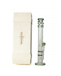 WATERFALL - TITAN SERIES - GREEN STUDDED DOUBLE HONEYCOMB ICE GLASS BONG - DELUXE WOODEN BOX EDITION