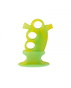 PULSAR - RIP SILICONE KNUCKLE BLUNT BUBBLER - YELLOW & GREEN GLOW IN THE DARK