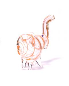 ELLIE THE ELEPHANT GLASS BUBBLER - RED-GOLD SWIRLS