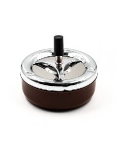 PUSH SPIN ASHTRAY - BROWN