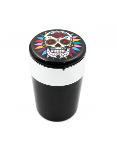 ASHTRAY - SMILING SUGAR SKULL & ROSE W/ LED LIGHT