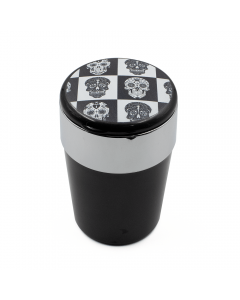 ASHTRAY - CHECKERED B/W SKULLS W/ LED LIGHT