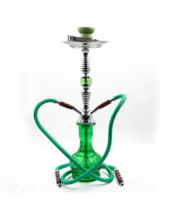 HOOKAH-2 HOSE CHECKERS GREEN GLASS MATTE 26CM