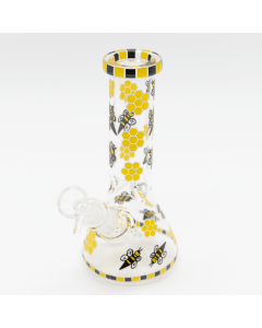 Planet X Glow in the Dark Honeycomb Bees Glass Bong | The Bong Shop