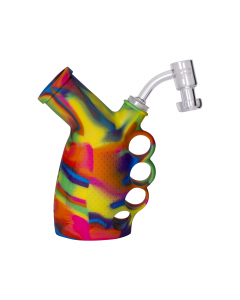 Pulsar Rip Silicone Knuckle Bubbler Dab Rig Rainbow  Img 3 | The Bong Shop