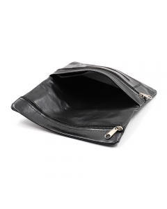 TOBACCO POUCH WALLET - DOUBLE ZIPPERED PU BLACK